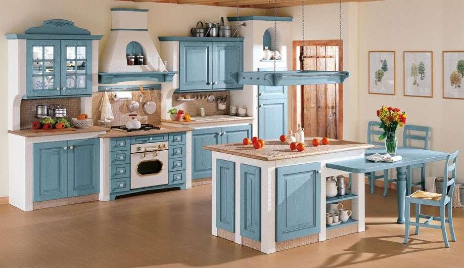 Cucina In Muratura Bianca.Cucina In Muratura Celeste E Bianca Cucine Padova