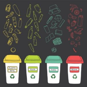 Sorting of garbage made in vector, easy editable.